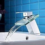 AuraLum Wasserhahn Waschtischarmatur Wasserfall Einhandmischer für Bad Badezimmer Waschbecken,...