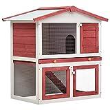 2-Etagen Kaninchenstall 3 Türen, Kleintierhaus, Pulverbeschichtetes Drahtgitter, Kaninchenstall aus Holz mit Ausziehbares Schubfach, Abschließbare Tür mit Riegeln, Witterungsbeständig