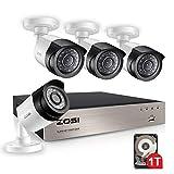 ZOSI 8CH 1080P Full HD DVR Video Überwachungssystem 4 Außen 1080P Überwachungskamera Set mit 1TB...