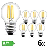 LED Glühbirne E27,6W LED E27 Warmweiss,540 Lumen Filament Lampe, ersetzt 60W Glühfadenlampe, 2700K...
