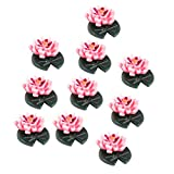 Bonarty 10 Stück Fee Haus Lotus Mini Garten Zubehör Puppenhaus Dekor Ornamente