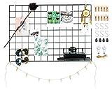 Deko Wandgitter aus Eisen in schwarz (65x45cm) zum aufhängen von Fotos | Metall Memoboard Pinnwand Gitter zum dekorieren der Wand (1xschwarz)