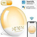Smart Tageslichtwecker Sonnenaufgang Lichtwecker - Wake Up Licht, 4 Alarme/Snoozefunktion/7 Farben...