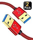 JSAUX USB 3.0 Kabel, 2 Stück (1M + 2M) USB A Stecker zu A Stecker, 5 Gbit/s Super-High-Speed Nylon...