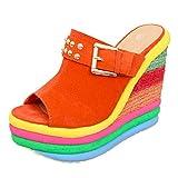 WERVOT Damen gewebt Sandalen mit Keilabsatz Römischer Stil Farbe Sandalen Dicker Boden