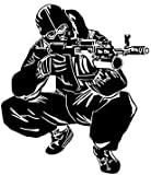 Autoaufkleber 15.9 * 18.2cm Coolest Waffe AK-14 Kampf-Soldat Schießen Dekoration Auto-Aufkleber-Vinyl Grafik Zubehör Autoaufkleber (Farbe Name: Schwarz) lmfu (Size : Black)