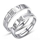 Shqyzb Paar-Ring S925 Sterlingsilber-einfache Studenten Beschriftung Ring, männliche und weibliche...