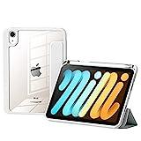 Tasche für das Neue iPad Mini 6 2021 8,3 Zoll, mit Bleistifthalter, praktische magnetische Befestigung, abnehmbare Tasche, automatische Sleep/Wake Trifold Smart Case,Weiß