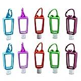 10 x 30 ml nachfüllbare Flaschen mit Haken, Reise-Kunststoff-Schlüsselanhänger-Flaschen, Händedesinfektionsmittel, leere Quetschbehälter mit Clip-Karabiner