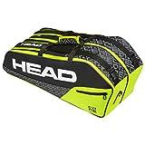 HEAD Unisex– Erwachsene Core 6R Combi Tennistasche, Black/neon Yellow, Einheitsgröße