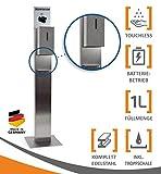 MyMaxxi | Hand Desinfektionsmittelspender Station Sensor Steel Edelstahl Spender Set 1x 1L Desinfektionsmittel stehend automatisch | Desinfektionsspender
