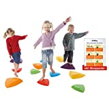Fluss-Steine-Set für Kinder, Balance Spiel, Balancierspiel, Koordination, 6-tlg. inkl. Sport-Tec...