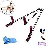 MMJJQWE Beinstrecker Edelstahl Sets, Beinstrecker Heavy Duty Gymnastic Portable 3 Bar, mit Yogamatte...