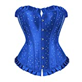 NSYHKB Vintage Lace up ohne Knochen Vollbrust Korsett Bustier Strass Satin Kostüm Showgirl Top...