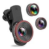 Handy Objektiv Kamera Linse Kit, 3 in 1 Lens Set 0,62X Weitwinkel + 25X Makro + 235° Fisheye...
