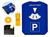 GibtPlus+ Parkscheibe 5 in 1 Parkuhr mit Reifenprofiltiefenmesser, Eiskratzer und Einkaufswagenchip Kunststoff blau fürs Autos