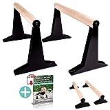 PULLUP & DIP Holz Parallettes, Low & Medium Minibarren Handstand Barren mit ergonomischem Holz...