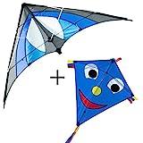 CIM Drachenset Blue - Shuriken MUSTHAVE Blue Sky & Happy Eddy Blue - komplett flugfertig - ideal...