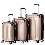 Flexot 2045 3er Reisekoffer Set - Farbe Rosegold Größe M L XL Hartschalen-Koffer Trolley...