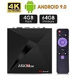 Android 9.0 TV Box, Android Box 4GB RAM 32GB ROM, ATETION MAX RK3328 Quad Core 64bit Smart TV Box,...