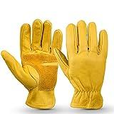 DADD Gelbe Leder-Arbeitshandschuhe, tragen Sie rutschfeste Retro-Handschuhe aus Rindsleder für den...