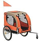 vidaXL Fahrradanhänger für Hunde Orange Braun Hundetransporter Hundeanhänger