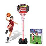 Macium 109-141cm Höhenverstellbar Basketballständer, Basketballkorb mit Ständer Tragbar...