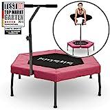 Kinetic Sports Fitness Trampolin Indoor Ø 110 cm, Hexagon, höhenverstellbarer Haltegriff,...