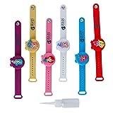 Set mit 6 Hydroalkoholischen Gel-Armbändern für Kinder und Mädchen, Dosier-Armbänder für Handdesinfektionsmittel für Jungen und Mädchen