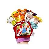 Spielhandschuh – Fingerpuppen-Handschuh für Babys und Kleinkinder ab 0+ Monaten, Handpuppenset aus Plüsch und Filz, Kasperlefiguren, Handpuppen für Puppen- & Kasperletheater, Kasperpuppen