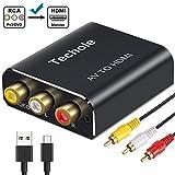 RCA auf HDMI Adapter Techole Aluminium 3RCA Composite AV zu HDMI Adapter, Unterstützung 1080P AV...
