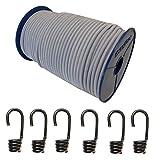 10mm Expanderseil 10m Gummiseil + 10 Spiralhaken Gummileine Planenseil Seil Plane in Weiss