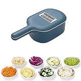 CHENGLIN Gemüseschneider mit Abflusskorb, Gemüsehacker mit großer Kapazität, Gemüse-Schredder-Reibe Tragbares Aufschnitt-Küchenwerkzeug (Navy blau)