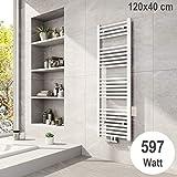 Meykoers Badheizkörper 1200x400mm Mittelanschluss 597 Watt Weiß, Handtuchtrockner Handtuchwärmer...