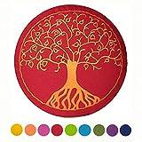 maylow - Yoga mit Herz  Yogakissen Meditationskissen mit Stickerei ' Baum des Lebens ' Bezug und...