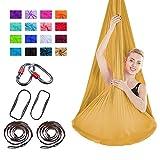 Viktion 4m*2.8m Anti-Gravity-Yoga Set Aerial Yoga Tuch Hängematte Aerial Yogatuch (Gold)