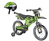 Kawasaki Kinderfahrrad BMX-Fahrrad Sairensa Moto 16 Zoll grün und Fahrradhelm Shikuro grün Gr....