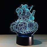 3D Illusion Lampe Panzer Led Nachtlicht, Schreibtisch Am Bett Tischlampe 16 Farben...
