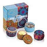 iheyfill Duftkerze Aroma Kerzen Naturwach in Dose 4er Duftkerzen Geschenk Set - Natürliches Aromen...