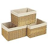SONGMICS Aufbewahrungskörbe aus Polyrattan, 3er Set, 30 L Aufbewahrungsboxen mit Griffen und...