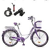 GHH Damen-Mädchen-Kinder-Fahrrad, 24 Zoll Lila-Weiss Cityfahrrad, Mit Korb + Licht, Kabelschloss,...