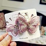 Haarklammer mit Schmetterlings-Stickerei, Kristall, High-End Edge Clip Bangs Clip Haarnadel Schmuck...