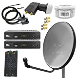 Digital Sat Anlage 80 cm Spiegel inkl. 2X ARLI AH2 Full HD Receiver + Twin LNB + 50 m Koax Kabel + 4...