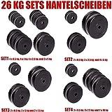 C.P. Sports Hantelscheiben 30/31 mm 26 KG, 30 KG und 52 KG Set, Hantelscheiben Set, Kunststoff,...