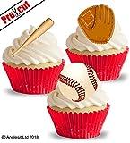 vorgeschnittenen Baseball Handschuh Bat & Ball essbarem Reispapier/Waffel Papier Cupcake Kuchen...