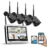 WLAN Überwachungskamera Set mit 12 Zoll LCD Monitor, TMEZON 4ch 1080P DVR Überwachungskamera...