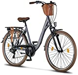 Licorne Bike Violetta (Anthrazit) 28 Zoll Damenfahrrad,CTB ab 160 cm, Fahrrad-Licht, Shimano 21...