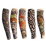 Tattoo Armlinge für Kinder, ANGTUO 5 PCS Outdoor UV Schutz Arm Sleeve Stilvolle elastische Nylon...