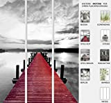 EFIXS 3er Set Flächenvorhang - Motiv Steg Rot - halbtransparent und lichtdurchlässig -...