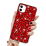 Bling Glitzer Hülle für iPhone 12 Mini, Misstars 3D Diamant Strass Handyhülle Transparent Hart PC Rückschale mit Silikon TPU Rahmen Schutzhülle für Apple iPhone 12 Mini (5.4'), Rot